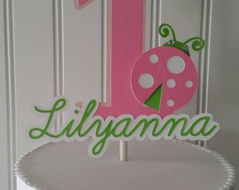 Pink Lime green Ladybug Cake Topper, Pink Green ladybug birthday, Pink Green Ladybug Party, Pink Green ladybug baby shower, Girl First Birth