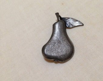 Vintage Pewter Pin Figural Pear Brooch
