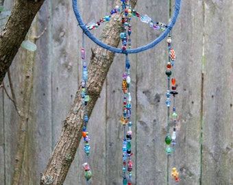 Lampwork Glass - Fully Beaded - Peace Sign - Dream Catcher - Bohemian Decor