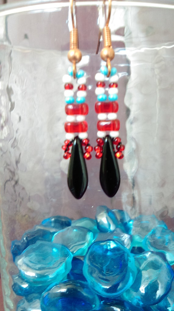 Black red white and blue small  Czech glass bead dangle earrings.