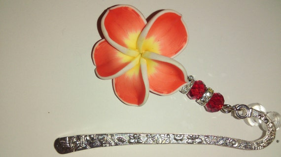 Polymer Clay Red Hibiscus Flower Hair Decor/Jewelry with Rhinestones and Red Glass Beads.