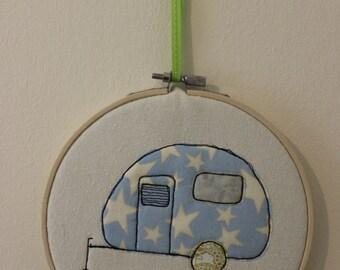 Retro Caravan in an Embroidery Hoop