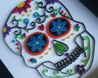 Paper Quilled Sugar Skull - 8x10