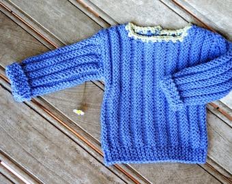 Blue green knit baby sweater. Modern haycinth blue lime newborn sweater. Handknit baby sweater. Baby shower gift idea. Newborn blue sweater