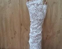 White or black fishnet Long fingerless gloves