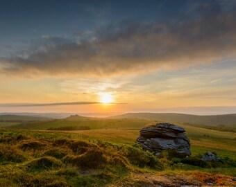 Photography, color, moorland, landscape, sunrise, Dartmoor, Dartmoor Tor, Hound Tor.