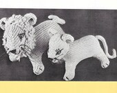 Vintage Lion, Lioness Pattern, 1964s Toy Pattern, Instant Downloads, Knitting Pattern Toy, Toy Pattern, Lion and Lioness, PDF, Stuffed Toys