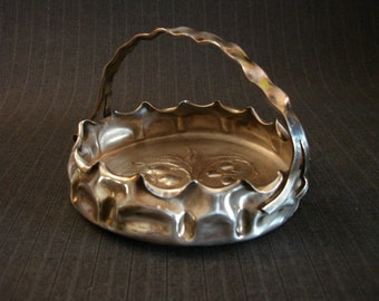 Charming Silver-Plate Basket, Fruit Design, Hand-Crafted Funkiness [Vintage]