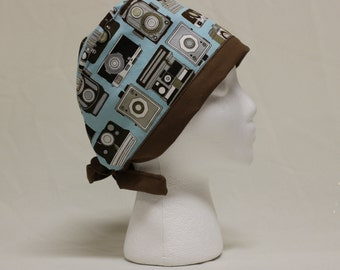 Vintage Cameras Light Blue and Brown Surgical Scrub Cap Chemo Dentist Hat