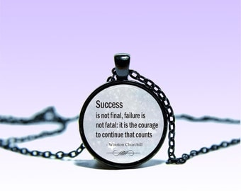 Quote Winston Churchill Pendant Winston Churchill NECKLACE Quote Jewelery Charm Pendant for Him or Her