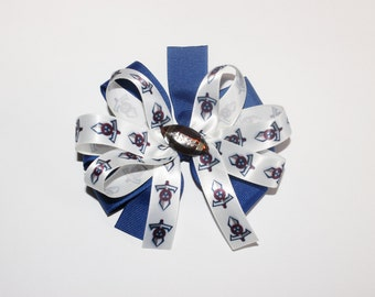Tennessee Titans Inspired Hair Bow, Pinwheel Hair Bow, Football Hair Bow, Blue and White Hair Bow, Game Day Bow
