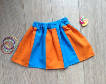 Orange/blue skirt with panels, size 2T-3T, age 2-3 years, baby, toddler, little girls