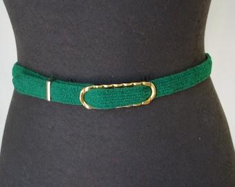 Vintage skinny grean terry cloth waist belt