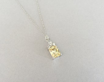 Yellow Swarovski Crystal 925 Sterling Silver Necklace, Rhodium Plated, OOAK