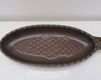 FRIESLAND, Katen Geschirr, pottery matte brown fish serving plate - Made in Germany - 1960s/1970s