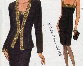 FREE US SHIP Vogue 8512 Retro 1990s 90s Cocktail Spaghetti Strap Dress Jacket Size 6 8 10 Bust 30 31 32 Sewing Pattern Old Store Stock