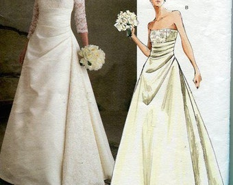 FREE US SHIP Vogue 2842 Bridal Original Wedding Gown Dress Train Sewing Pattern Out Of Print