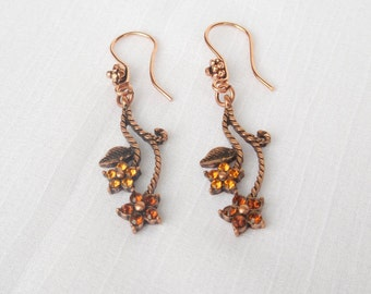 Antiqued copper earrings with Swarovski antiqued copper finished focals