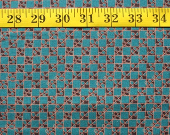 """Teal & Black Checks with Swirls, Vibrant """"Geographia"""" by Windham Makes, Sold By the Yard"""