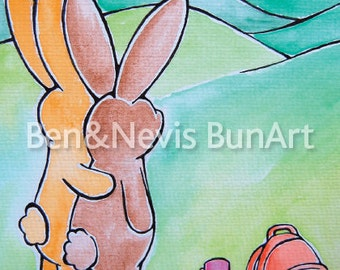 Bunny rabbit watercolour art print, size A5 (8.3 x 5.8 inch) countryside, hiking bunnies, colourful, hoppy nursery print