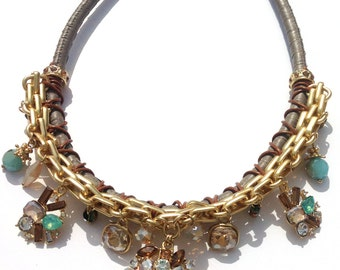Contemporary Statement Necklace, Gold, Coloured Stones, Boxed
