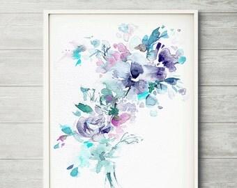 Watercolor flower, flower painting, watercolor flower print, abstract flower, flower art, pink flower, floral print, blue watercolor