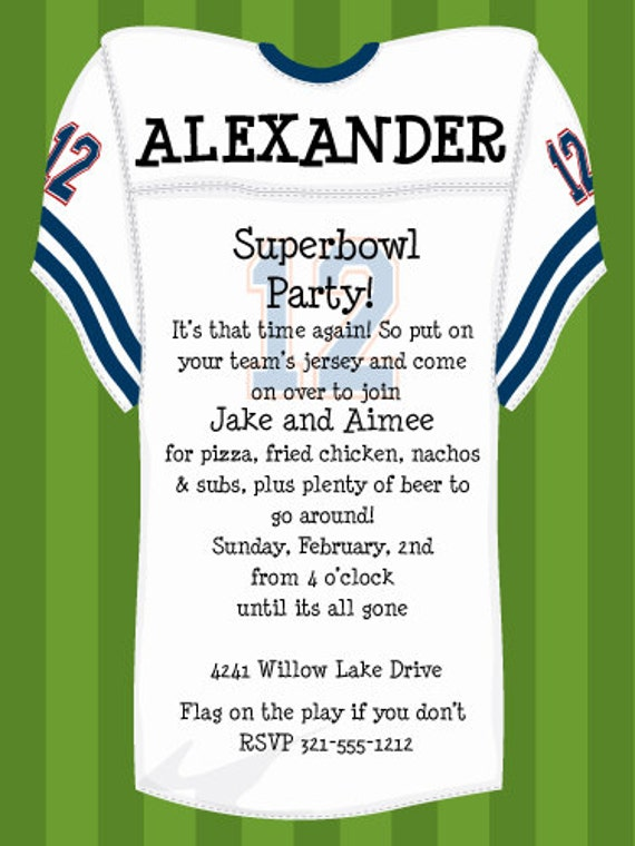 Football Jersey Party Invitation Superbowl Party Birthday Bash