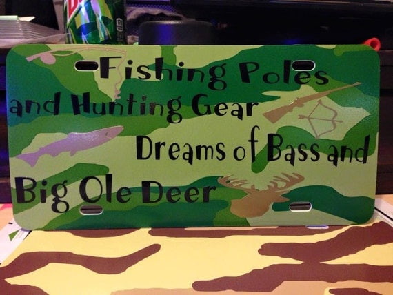 Custom license plate fishing poles hunting gear big bass for Fishing license illinois