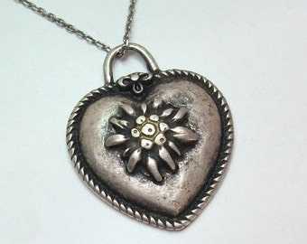 Old necklace pendant heart pendant with gentian 800 silver SK200
