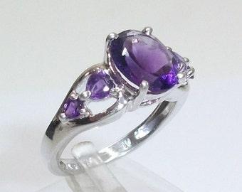 Beautiful silver ring 925 Silver Amethyst size 18.3 size 58 SR116