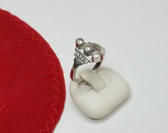 Antique 800 silver ring with Crystal stones shabby vintage SR512