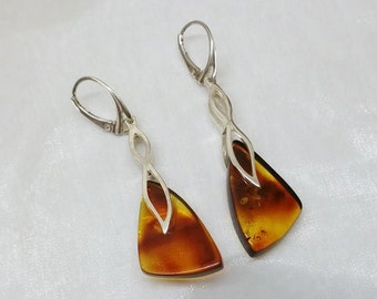 Silver 925 Silver earrings with amber SO202