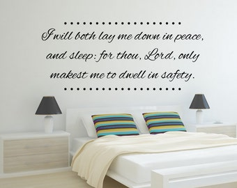 Vinyl Wall Decal Psalms 4:8 KJV Vinyl Letters Scripture Inspirational Quote Wall Art Bedroom Bathroom Children's Living Room Family Wall Art
