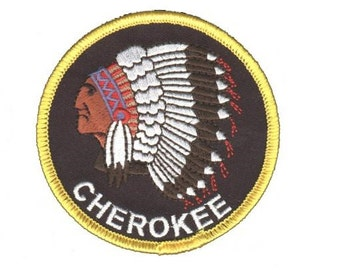 "Cherokee ""Indian"" Patch - Native American with Headdress"