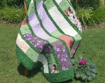 Green & Purple Floral Quilt