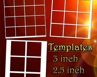 Templates 2, 2.5, 3 Inch Squares 8.5x11 sheets, PNG Photoshop Gimp file, DIY blank craft button cake topper jewelry