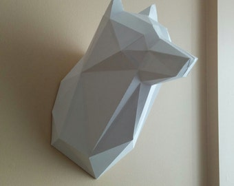 Printable Paper Model Of Wolf Trophy - Diy - Pdf Template, Paper Craft Sculpture