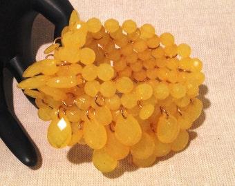 Yellow Dangle Bead Cuff Bracelet, Multi Bead Bracelet, Beaded Cuff Bracelet, Bangle Bracelet