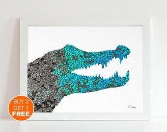 Crocodile watercolor illustration art print, Crocodile art, wall art, animal illustration, animal art, Alligator art, decor