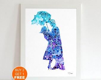 Umbrella Love watercolor illustration art print, Umbrella art, Love watercolor,home decor, wall art, Love illustration, Umbrella art,