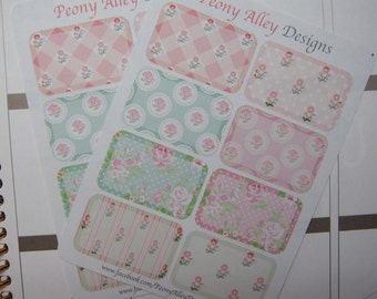8 Vintage Floral Collection Half Box Planner Stickers