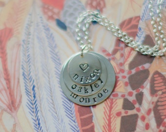 Hand Stamped Three Name Necklace