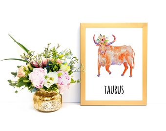 Taurus Print Taurus Wall Art Taurus Poster Taurus Zodiac Wall Art Gifts for Taurus Astrology Lover Taurus Wall Decor Taurus Decor Taurus Art