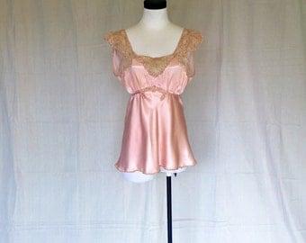 Vintage 1930's Lace + Rayon Trim Camisole // Bias Cut
