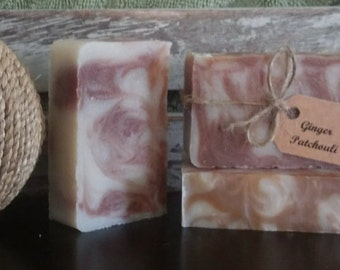 SALE-Ginger Patchouli Soap with Shea Butter, Handmade Soap, Artisan Soap, Vegan Soap
