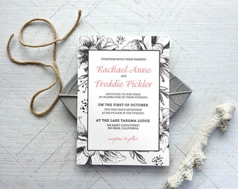 Floral Invitation Template DIY - GRACE Floral Invitation - Instant Download -  Edit Yourself in Word