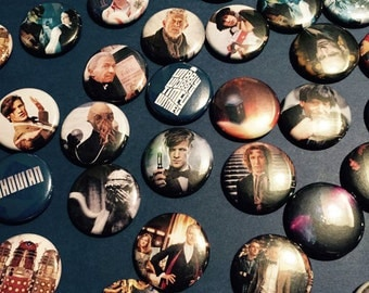 Assorted Doctor Who Buttons - Geeky Gift