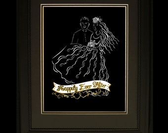 """Wedding Silhouette """"Happily Ever After"""" Couple #4 Beautiful Bride and Groom 8X10 Digital Print wedding gift or keepsake"""