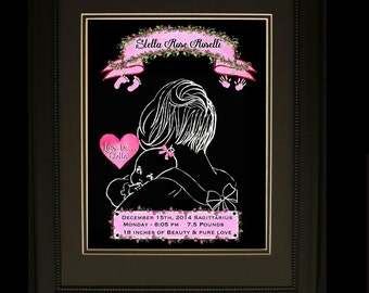 """BABY GIRL Personalized Birth Keepsake """"Mommy and Me"""" Baby PINK Nursery """"Love Is"""" Silhouette Adorable Digital Print"""
