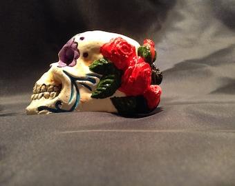 Purple sugar skull candle holder